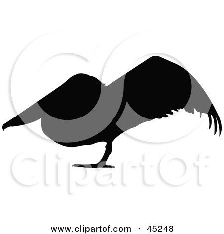 Royalty-free (RF) Clipart Illustration of a Profiled Black Resting Pelican Silhouette by JR