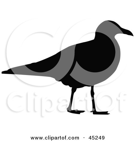 Royalty-free (RF) Clipart Illustration of a Profiled Black Gull Silhouette by JR