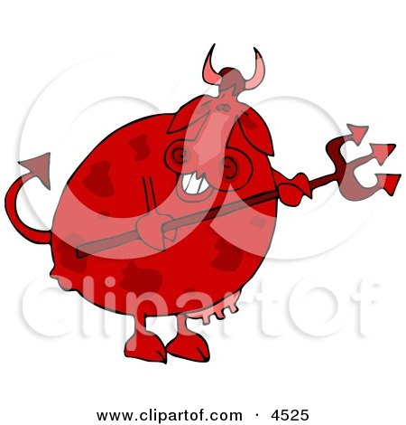 Male Devil Cow Holding a Pitchfork Clipart by djart
