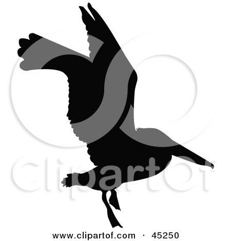 Royalty-free (RF) Clipart Illustration of a Profiled Black Flying Bird Silhouette by JR