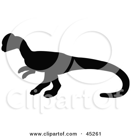 Royalty-free (RF) Clipart Illustration of a Profiled Black Homalocephale Dinosaur Silhouette by JR