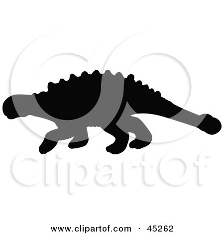 Royalty-free (RF) Clipart Illustration of a Profiled Black Ankylosaurus Dinosaur Silhouette by JR
