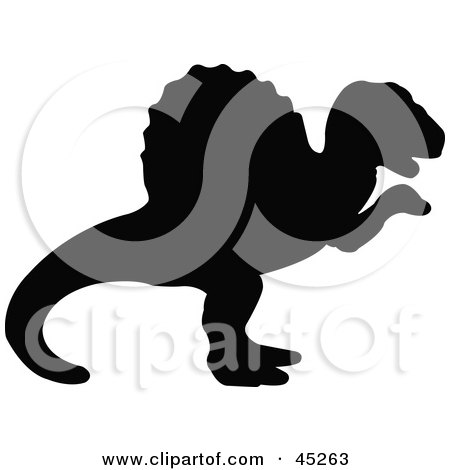 Royalty-free (RF) Clipart Illustration of a Profiled Black Ouranosaurus Dinosaur Silhouette by JR