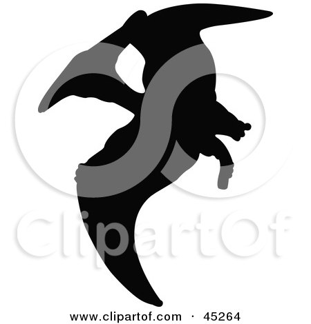 Royalty-free (RF) Clipart Illustration of a Profiled Black Pterodactyl Dinosaur Silhouette by JR