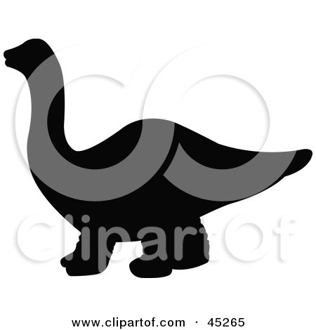 Royalty-free (RF) Clipart Illustration of a Profiled Black Apatosaurus Dinosaur Silhouette by JR