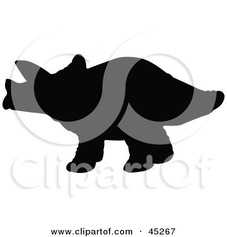 Royalty-free (RF) Clipart Illustration of a Profiled Black Triceratops Silhouette by JR