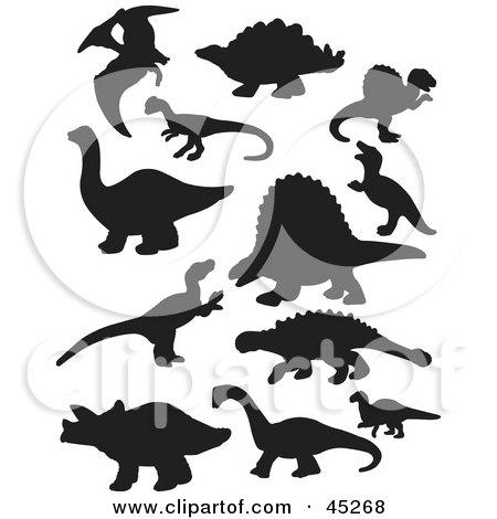Digital Collage Of Black Dinosaur Silhouettes Posters, Art Prints