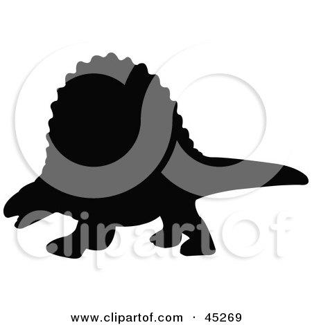 Royalty-free (RF) Clipart Illustration of a Profiled Black Dimetrodon Dinosaur Silhouette by JR