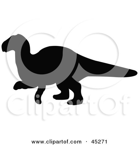 Royalty-free (RF) Clipart Illustration of a Profiled Black Yinlong Dinosaur Silhouette by JR