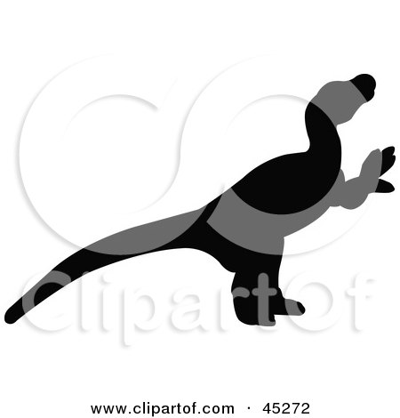 Royalty-free (RF) Clipart Illustration of a Profiled Black Dromaeosauridae Dinosaur Silhouette by JR