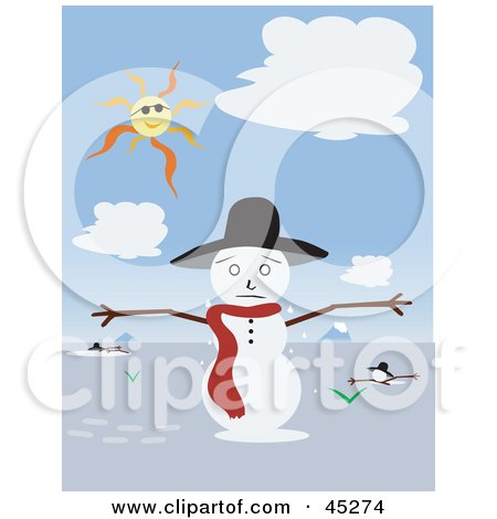 Royalty-free (RF) Clipart Illustration of a Warm Sun Shining Down And Melting A Snowman by JR