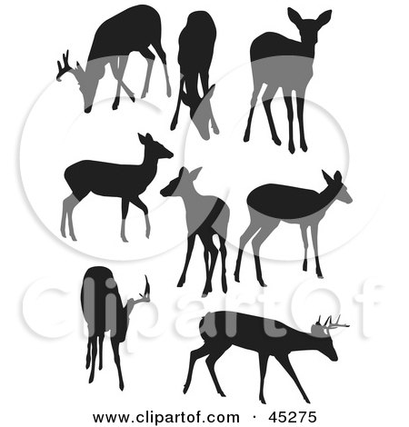 Royalty-free (RF) Clipart Illustration of a Digital Collage of Profiled Black Deer Silhouettes by JR