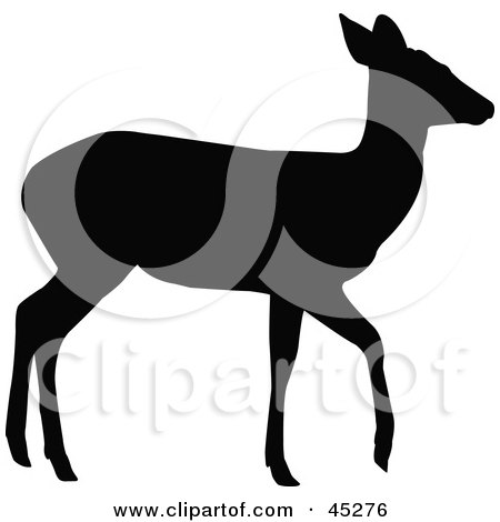 Royalty-free (RF) Clipart Illustration of a Profiled Black Walking Doe Silhouette by JR