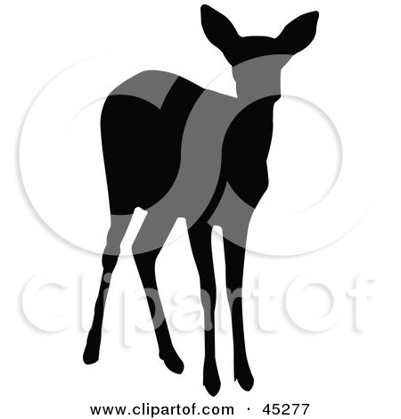 Royalty-free (RF) Clipart Illustration of a Profiled Black Doe Silhouette by JR