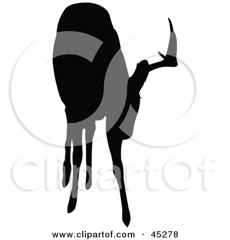 Royalty-free (RF) Clipart Illustration of a Profiled Black Grazing Buck Silhouette by JR