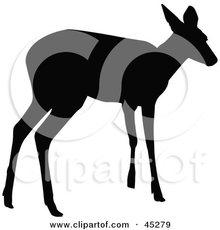 Royalty-free (RF) Clipart Illustration of a Profiled Black Standing Doe Silhouette by JR
