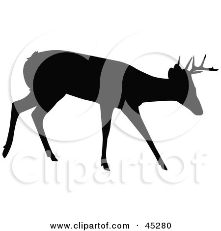 Royalty-free (RF) Clipart Illustration of a Profiled Black Walking Buck Silhouette by JR