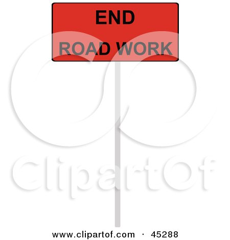 Royalty-free (RF) Clipart Illustration of a Red And Black End Road Work Sign by JR