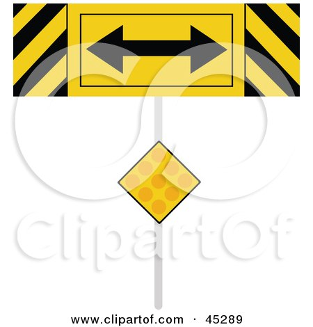 Royalty-free (RF) Clipart Illustration of a Yellow Hazard Road Sign Depicting The End Of A Road by JR