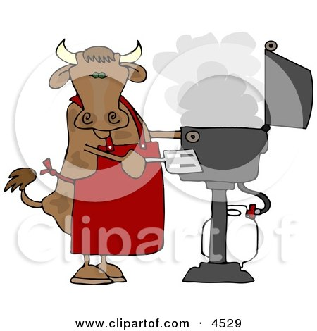 Cow Cooking BBQ On an Outdoor Propane Grill Clipart by Dennis Cox