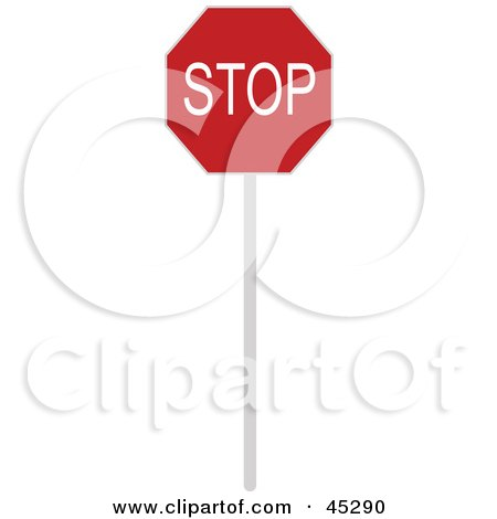 Royalty-free (RF) Clipart Illustration of a White And Red Stop Sign Posted At An Intersection by JR