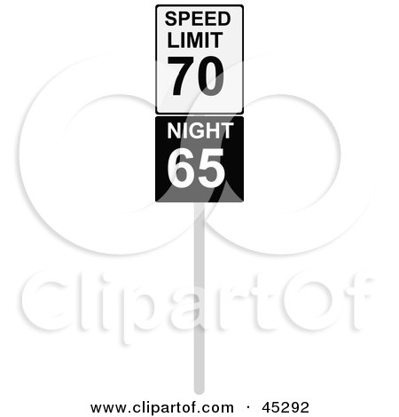 Royalty-free (RF) Clipart Illustration of a Speed Limit Sign With Night And Day Speeds by JR