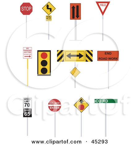 Royalty-free (RF) Clipart Illustration of a Digital Collage Of Road And Street Signs by JR
