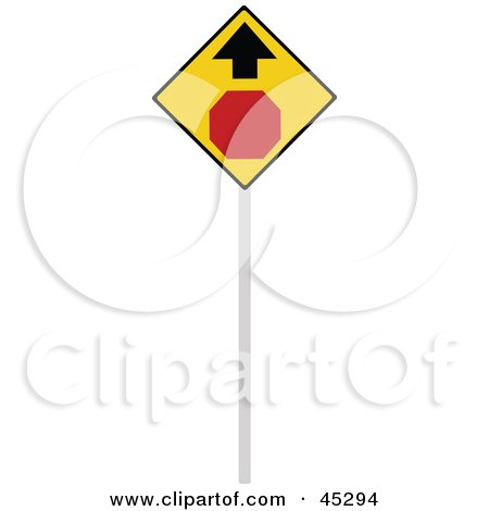 Royalty-free (RF) Clipart Illustration of a Stop Ahead Sign With an Arrow by JR