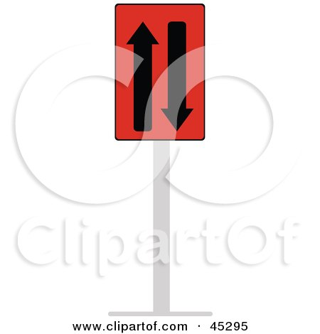 Royalty-free (RF) Clipart Illustration of a Red And Black Two Way Traffic Sign by JR