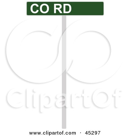 Royalty-free (RF) Clipart Illustration of a Green and White CO RD Street Sign by JR