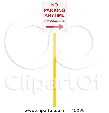 Royalty-free (RF) Clipart Illustration of a No Parking Anytime To Away Zone Sign by JR