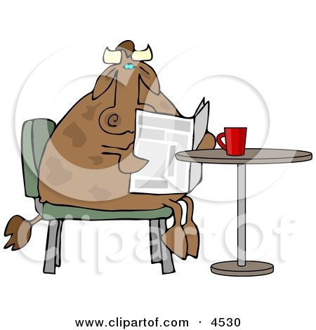 Male Cow Reading the Daily Newspaper with Coffee Clipart by djart