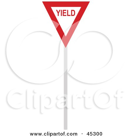 Royalty-free (RF) Clipart Illustration of a Red and White Yield Sign by JR