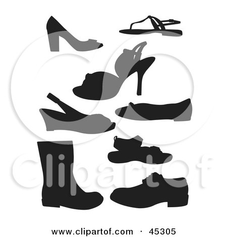 Digital Collage Of Profiled Black Shoe Silhouettes Posters, Art Prints