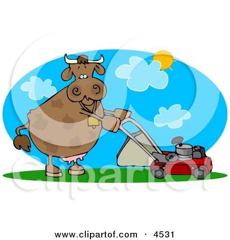 Cow Mowing Lawn On a Hot Summer Day Clipart by djart