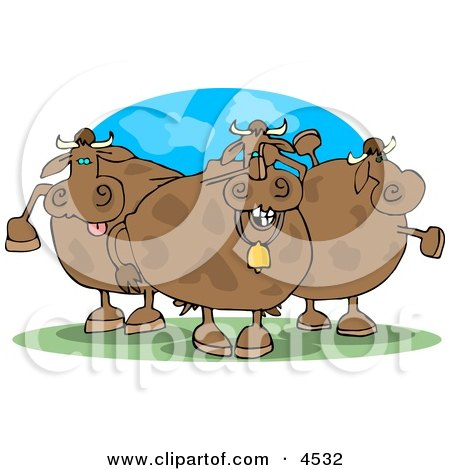 Three Goofy Cows On Pasture Clipart by djart