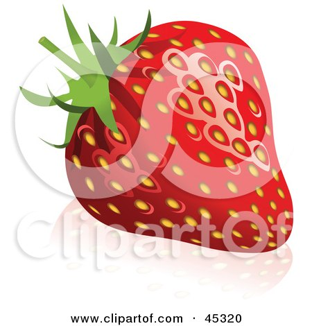 Royalty-free (RF) Clipart Illustration of a Fresh And Shiny Red Strawberry by Oligo