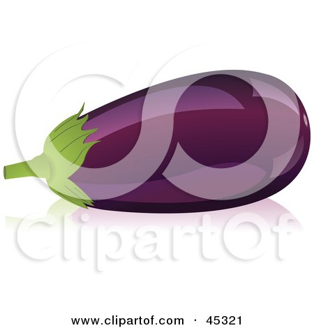 Royalty-free (RF) Clipart Illustration of a Shiny Organic Purple Eggplant by Oligo
