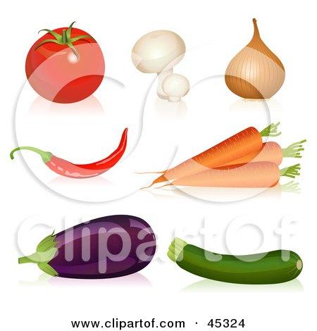 Royalty-free (RF) Clipart Illustration of a Digital Collage of Organic Veggies by Oligo