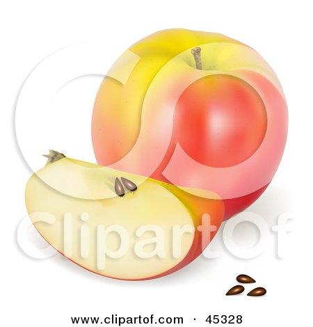 Royalty-free (RF) Clipart Illustration of a Fresh And Organic Pink Lady Apple by Oligo