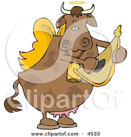 Cupid Angel Cow Playing A Small Harp Clipart