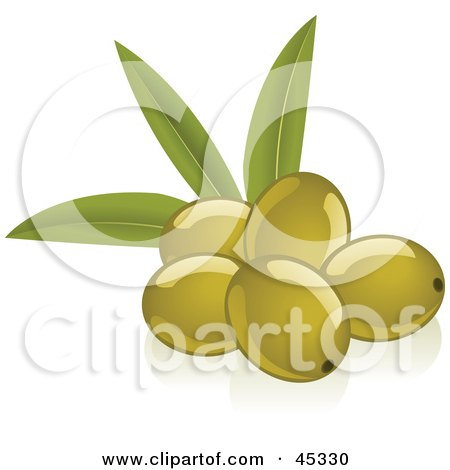 Royalty-free (RF) Clipart Illustration of a Group of Fresh And Shiny Green Olives by Oligo