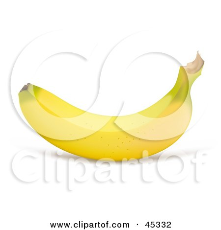 Royalty-free (RF) Clipart Illustration of a Perfectly Curved Yellow Organic Banana by Oligo