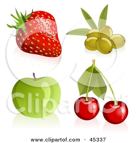 Royalty-free (RF) Clipart Illustration of a Fresh And Shiny Digital Collage Of Shiny And Fresh Strawberries, Cherries, Apples And Green Olives by Oligo