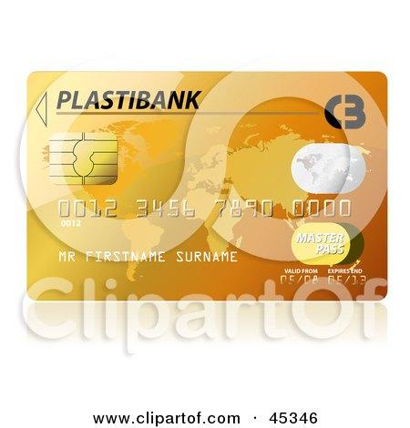 Royalty-free (RF) Clipart Illustration of a Golden Plastibank Credit Card by Oligo