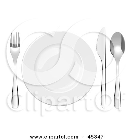 Royalty-free (RF) Clipart Illustration of a Shiny Plate And Cutlery Set On A Table by Oligo