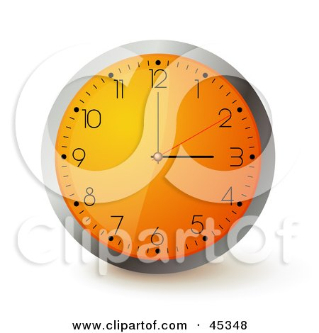 Royalty-free (RF) Clipart Illustration of an Orange Wall Clock With The Time Displaying 3 by Oligo