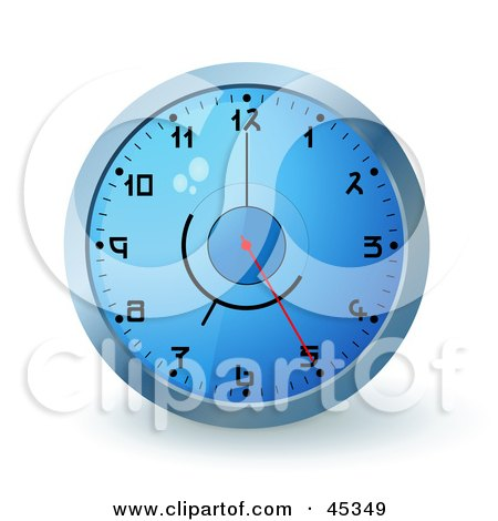 Royalty-free (RF) Clipart Illustration of a Blue Wall Clock With The Time Displaying 5 by Oligo