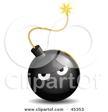 Royalty-free (RF) Clipart Illustration of a Bad Tempered Black Bomb With A Lit Fuse by Oligo