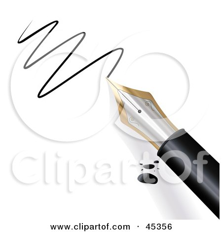 Royalty-free (RF) Clipart Illustration of a Fountain Pen Dripping Ink And Scribbling On Paper by Oligo